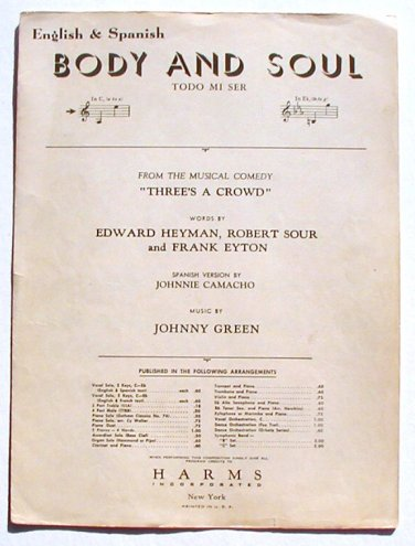 Vintage Sheet Music Body and Soul English & Spanish 1930