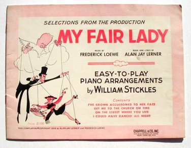 Vintage Sheet Music My Fair Lady Easy Piano 4 selections Songbook