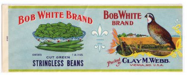 Vegetable Can Label Bob White Green Beans Vienna MD