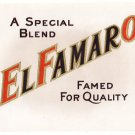 Cigar Box Label El Famaro Embossed Gold Inner Vintage