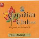 Cigar Box Label Canadian Club Embossed Inner Vintage