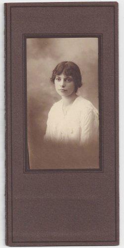 Antique Photograph Beautiful Woman Dark Hair Dark Eyes Matted Sepia Photo