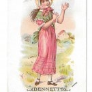 Victorian Trade Card Bennetts China Hall York Pa Girl Chasing Butterfly