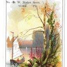 "Victorian Trade Card V A Stein Merchant Tailor Sailboat 4 1/2"" X 3"" York PA"