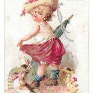 1895 Prudential Insurance Victorian Trade Card Affectation Girl Ducks Newark NJ