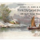 Victorian Trade Card Carpet House York City Harry M King Lake Scene Sail Boat