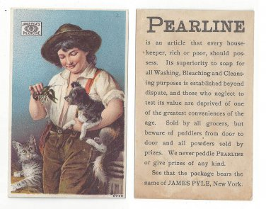 Victorian Advertising Trade Card Pearline Soap Boy Cat Dog Crawfish  James Pyle