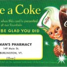 Coca Cola Premium Card Free Coke Colemans Pharmacy Burlington VT Drugstore AD