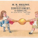HN Helfst Victorian Trade Card New York Confectionery Children Candy Tug of War