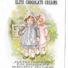 "Elite Chocolate Creams Victorian Trade Card Little Girls 5 1/4"" X 4 1/4"""