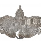 Victorian Diecut Linen Yarn Label Capitol Building Indian Head Embossed Silver Metallic