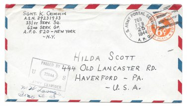 WWII 1944 US Army APO 769 Italy Censored Cover Airmail to US  62nd Serv Gp