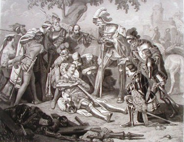 Steel Engraving The Knight's Death 1854 Charles C Nahl Ornaments of Memory