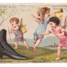 Victorian Trade Card Boot Cherubs Edwin Burt NY Shoes Eben J Beane Providence RI