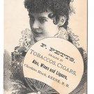 Victorian Trade Card F Petts Keene NH Tobacco Cigars Wines Actress Minnie Palmer