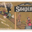 Victorian Trade Card Soapine Train on Gold Kendall Mfg Charlotte Perkins Gilman