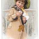Victorian Trade Card Briggs Pianos Boston MA Pretty Girl Snowballs Winter 1909 Bufford