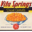 Can Label Vita Springs Carrots Willamette Valley Salem OR LARGE 6 lb 8 oz