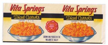 Can Label Vita Springs Carrots Willamette Valley Salem OR LARGE 6 lb 8 oz