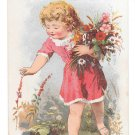 Victorian Trade Card James Pyles Pearline Soap Washing Compaound Girl Flowers