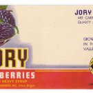 Vegetable Can Label Jory Blackberries Salem OR 1 lb 4 oz