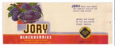 Vegetable Can Label Jory Blackberries Salem OR 1 lb 4 oz