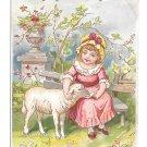 Antique 1889 Victorian Reward of Merit Card Girl Lamb Ada Shaffer Gibson Litho