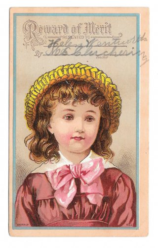 Antique Victorian Reward of Merit School Girl Card Bufford Litho Helen Wentworth