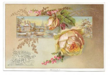 Antique Victorian Reward of Merit Card Pale Pink Rose Gold Leaves Vtg Gibson 4X6