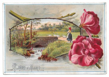 Antique Victorian Reward of Merit Card Girl Herding Geese PC Size Unused Lithograph