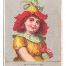 Victorian Reward of Merit Card Girl Flower Hat School Teacher Student