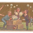 Victorian Trade Card Lavine Soap Children Blowing Bubbles Soapboxes
