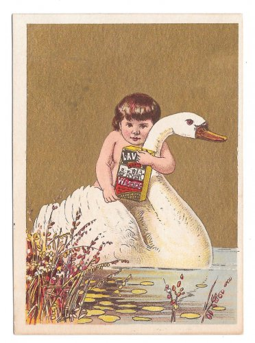 Victorian Trade Card Lavine Soap Hartford Chemical Co CT Child Swan Gold Background
