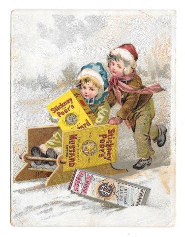 Victorian Trade Card Stickney & Poor's Mustard Spices Boston MA Children Sledding