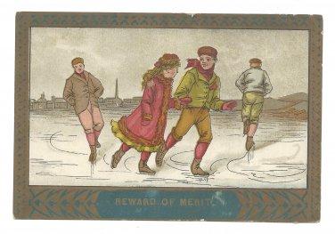 Reward of Merit Boys and Girl Ice Skating Vintage Victorian School Award