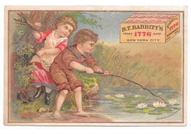 Victorian Trade Card Soap B T Babbitts New York NY Children Pond Water Lilies