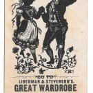 Victorian Trade Card Great Wardrobe Liberman & Stevensons Syracuse NY Silhouette Dancers