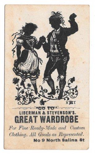 Victorian Trade Card Great Wardrobe Liberman & Stevensons Syracuse NY Silhouette Dancers