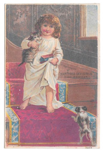 Victorian Trade Card Hunters Invisible Medicated Face Powder Phila PA Girl Kitten Puppy