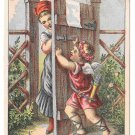 Victorian Trade Card Kid Gloves D M Yost & Co Cherub barring Lady from entrance