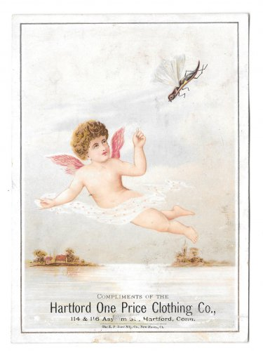 Victorian Trade Card Hartford CT One Price Clothing Flying Insect with Cherub Angel