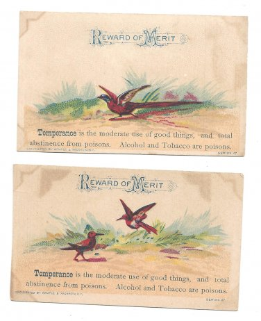 2 Victorian Reward of Merit Cards Temperance Alcohol Tobacco are Poisons Birds