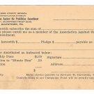 Association Against Prohibition Amendment Subscription Pledge Card Allentown PA