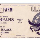 Vegetable Can Label Isaacs Green and White Lima Beans WWII Eagle Ellendale DE