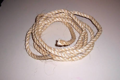 """3/8"""" SISAL Rope Unoiled & Natural bird toy parts 20'"""