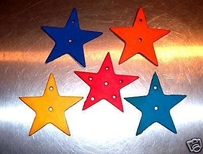2 Large Colored Leather Stars bird toy parts parrot craft