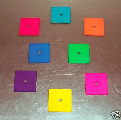 8 Colored Leather Squares bird toy parts parrots cages