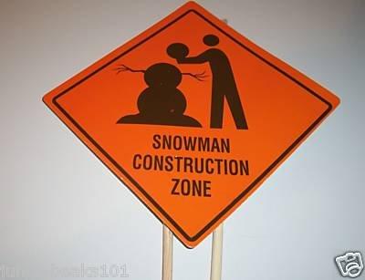 SNOWMAN CONSTRUCTION Yard Sign toys decorations kids