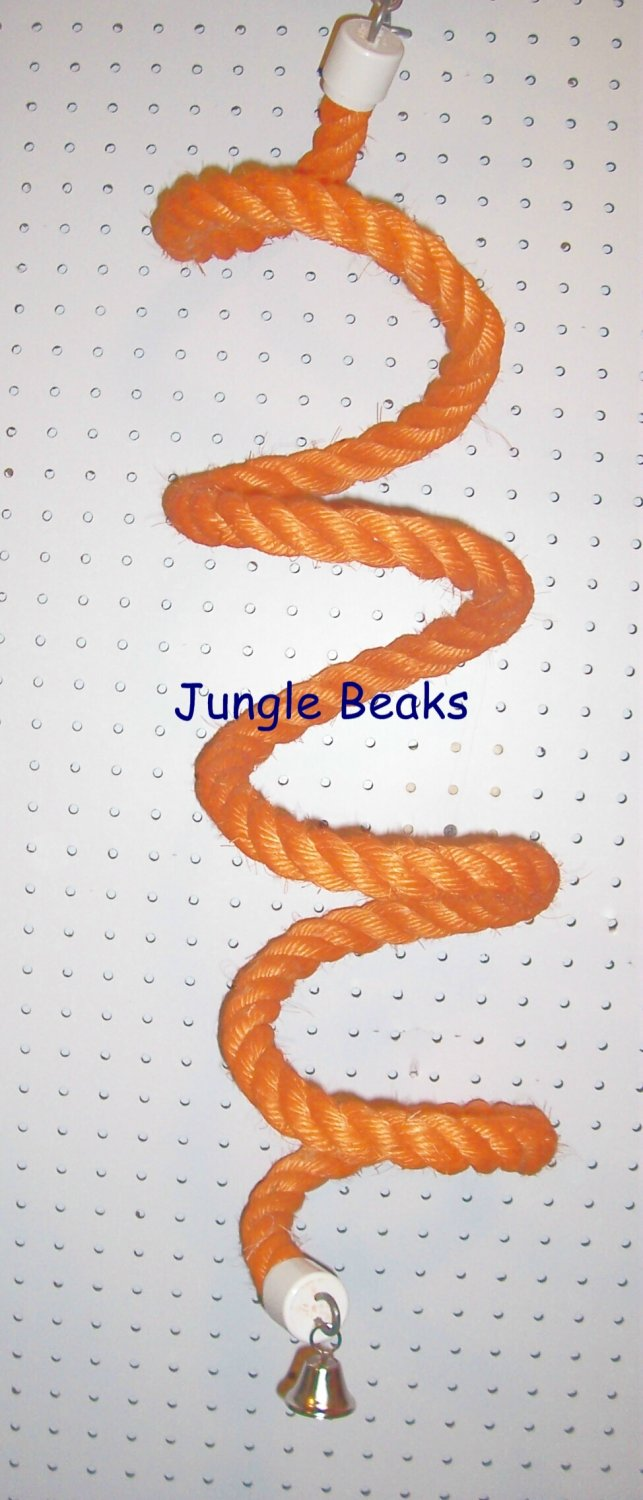 SMALL ORANGE Sisal Rope Boing bird toy swing parts parrots cages perches