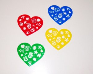 4 HEART STENCILS toys gifts prize kids loot bags crafts